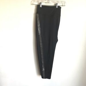 Maurices In Motion Black Capris Silver Stripe NWTS